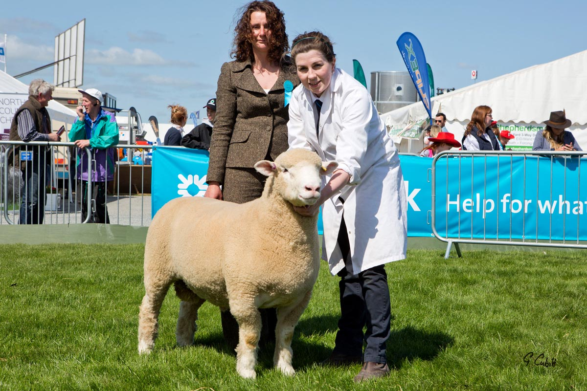 Karen Hodgson, Judge, left, and Amy McConnell with the Reserve Breed Champion